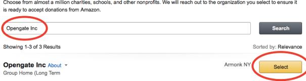 AmazonSmile select charity